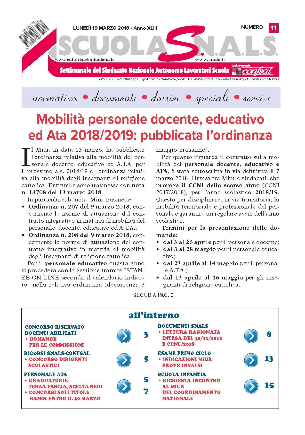 Mobilit personale docente educativo ed Ata 2018 2019 pubblicata l ordinanza