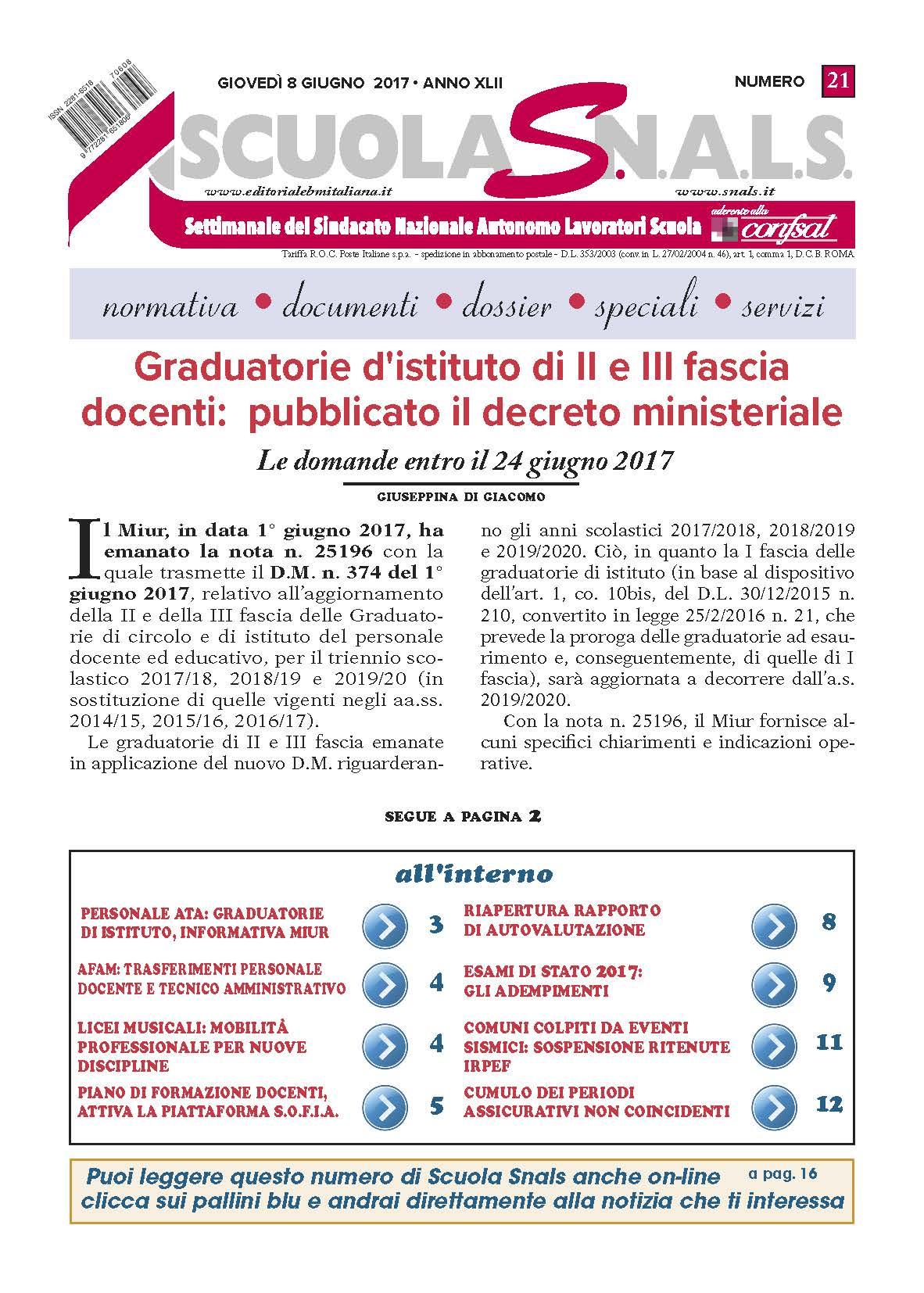 Graduatorie d istituto di II e III fascia docenti pubblicato il decreto ministeriale